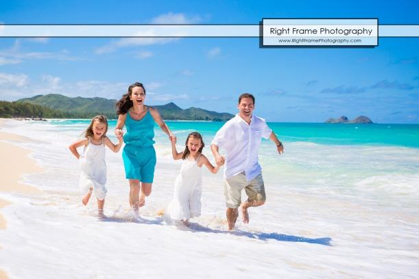 Family beach portraits near kailua oahu hawaii